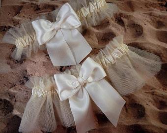 Ivory Satin Ivory Tulle Bridal Wedding Garter Toss Set