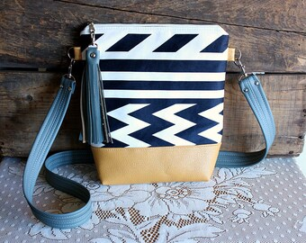 Striped Chevron crossbody purse/ handbag/bag vegan Indigo/ White leather trim- Ready to ship-