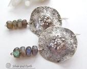 Labradorite Earrings, Sterling Silver Earrings, Organic Edgy Earrings, Blue Gemstone Earrings, Labradorite Jewelry, Artisan Silver Jewelry