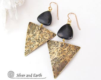 Triangle Earrings, Brass Earrings, Black Onyx Earrings, Contemporary Modern Geometric Jewelry, Black & Gold Earrings, Handmade Metal Jewelry