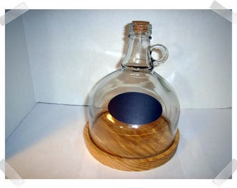 Glass Jug Cloche with Small Handle, Cork Stopper & Wooden Base/ Chalk Label/ Home Decor/ RESERVED for minchery1 *