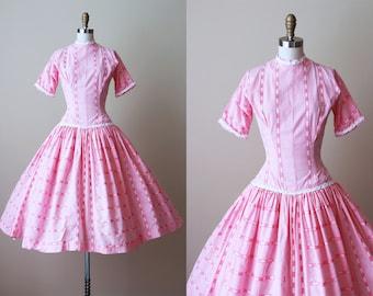 50s Dress - Vintage 1950s Dress - Candy Pink Cotton Garden Party Dress XS - Candyfloss Dress