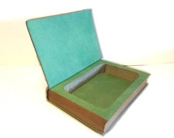 Hollow Book Safe Sea Lanes Cloth Bound vintage Secret Compartment Keepsake Hidden Security Box