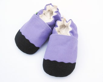 Organic Vegan Heavy Canvas Lavender / non-slip soft sole baby shoes / Made to Order / Babies Toddler Preschool