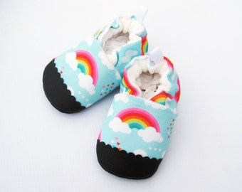 Eco-Canvas Vegan Love Rainbows in blue / non-slip soft sole baby shoes / made to order / Babies Toddlers Preschool
