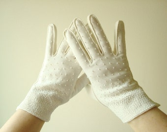 Vintage beaded gloves, bridal gloves, white cotton gloves, size 7.5 like-new, British Crown Colony of Hong Kong, 1950-1960s