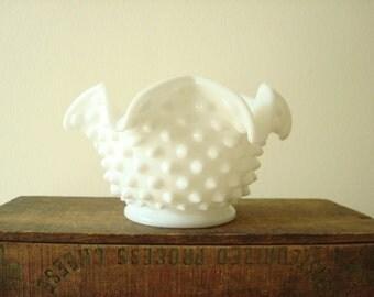 Fenton hobnail milk glass 'bonbon' star bowl, 1950-60s white milk glass, small cachepot or candy bowl, candy dish
