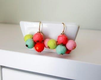 Pastel Earrings, Beaded Earrings, Spring Earrings, Summer Earrings, Multi color Earrings, Pastel Bead Earrings, Dangle Earrings