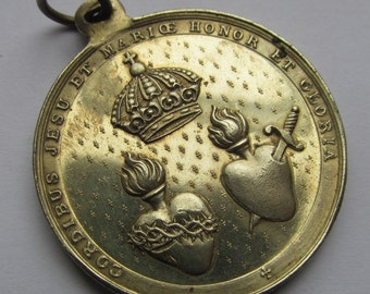 Antique Sacred Hearts Of Mary And Jesus Religious Medal Virgin Mary Pendant  SS231
