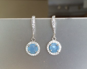Sterling Silver Pave Crystal and Blue Chalcedony Halo Earrings, Pave, Drop, Dangle, Bridal, Weddings, Fall Fashion, Everyday