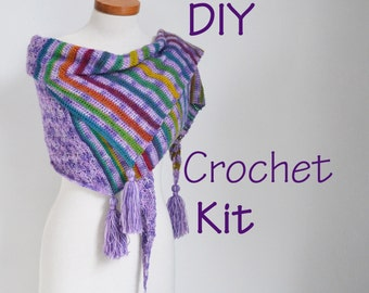 DIY Crochet Kit, Crochet shawl kit, ARROW, yarn and pattern