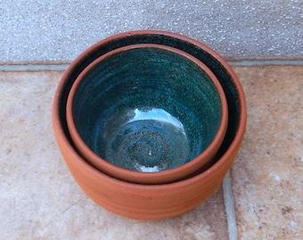 Pair of nesting serving bowls hand thrown terracotta handmade pottery wheelthrown ceramic