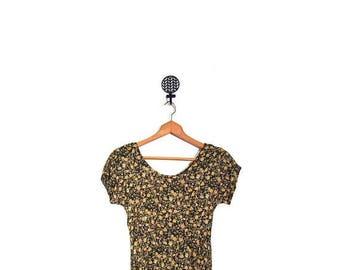 BTS SALE Vintage 90s Black & Yellow Floral Grunge Short Sleeve Maxi Dress women s m vestiesteam boho preppy indie hip hop hipster USA 90210