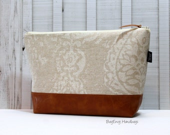 Paisley Damask in Tan with Vegan Leather - Large Make Up Bag / Diaper Clutch / Bridesmaid Gift