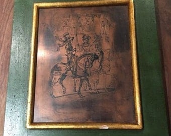 Antique Etching On Copper Plate Soldiers Horses Flags Spanish Framed Frioul