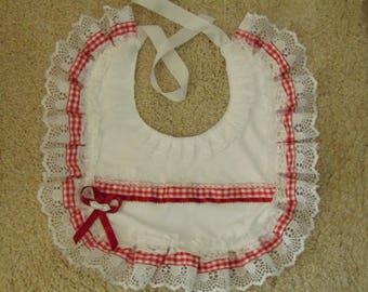 Adult baby girl frilly red bib ABDL lace ribbons pretty cosplay baby mummy sissy feeding party fancy dress