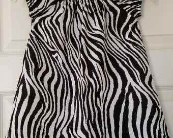 STORE CLOSING, Black & White Zebra Peasant Dress, Zoo