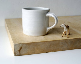 One straight sided mug - hand thrown stoneware in brilliant white