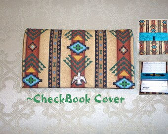 Fabric Checkbook Holder/Holds a Register Book and Pen/Southwest Style