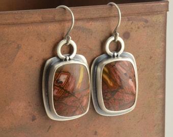 cherry creek jasper sterling silver oblong earrings