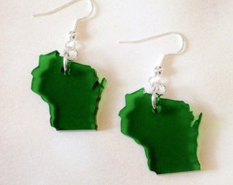 Lasercut Wisconsin Earrings in See Thru Green Acrylic, State Jewelry, State Earrings, Limited Edition