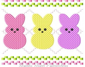 Faux Smocking Easter Bunnies Machine Embroidery Design