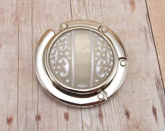 Folding Purse Hanger - Frosted Clear - White - Carved Swirl