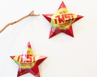Mist Twist Cranberry Lemon Lime Flavor Stars Christmas Ornaments Soda Can Upcycled