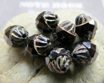 NEW SWIRLED JETS .  Czech Picasso Turbine Beads  (8 beads) 10 mm