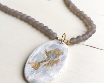 Reserved for Heather- Beaded Necklace with Acrylic Painted Pendant by Lindsay Ghata