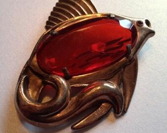 SALE Big Fish Brooch Red Rhinestone Belly