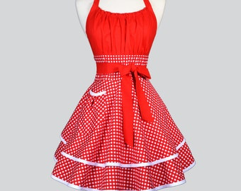 Flirty Chic Woman Apron - Cute Retro Red and White Gingham Vintage Style Valentine Pin Up Sexy Kitchen Apron