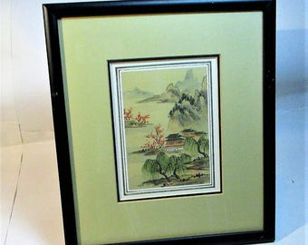Vintage Japanese Hand Painted Water color Landscape with houses from the Eda Varricchio Gallery