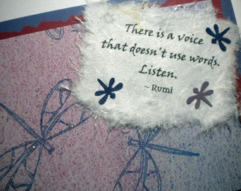 SILENT VOICE ~ Multi media collage greeting card, quote by Rumi