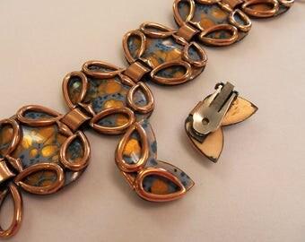 Vintage Copper Color Enamel Bracelet and Earring Set