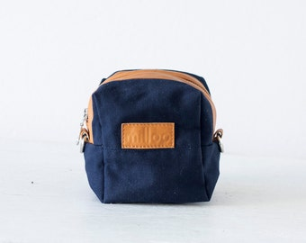 Accessory bag blue canvas and brown leather, makeup case cosmetic bag vanity storage travel zipper case diape- Cube