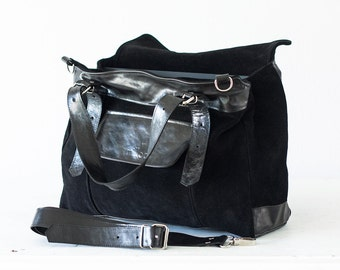 Work laptop tote bag in black suede leather, file folder bag crossbody purse leather tote work tote - Ophelia bag