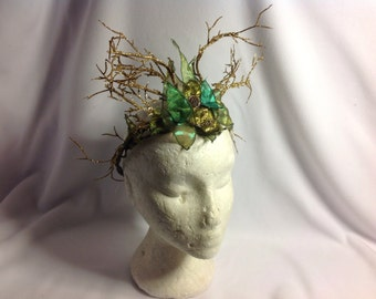 Unique OOAK Fairy Circlet Crown Green and Gold Woodland Fairy