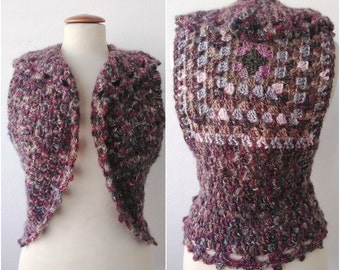 Pink mix   crochet shrug  ,  bohemian  style ready to ship