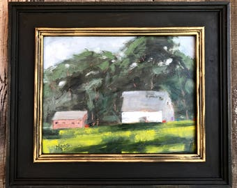 RUSH RANCH BARNS, 11 x 14 - Suisun, Plein Air - California - Farm - Original Oil Painting - White Barn - Trees - Landscape - Home Decor Art