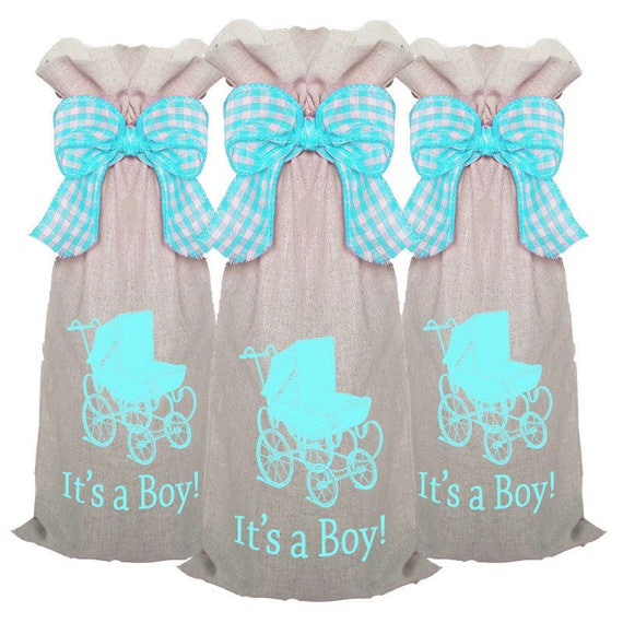 Baby Shower Hostess Gifts, 3 pack Wine Bags, Wine Sacks, Baby Shower Favors, Baby Shower Gifts, Baby Announcements, Party Favors, Champagne