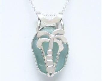 Sea Glass Jewelry - Sterling Caged Aqua Sea Glass Palm Tree Necklace
