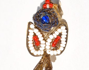 Vintage 1930's bead flower pin brooch, Native American, metallic thread & beads, pin back