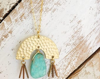 Hammered Tassel Necklace | Gold Plated | Brass | Amazonite