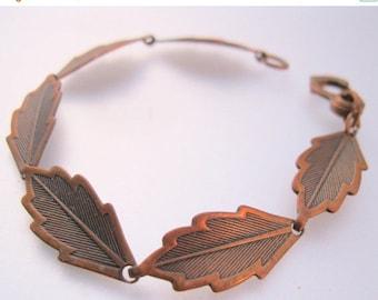SALE NOW ON Ends 2/27/16 Vintage Solid Copper Leaf Link Bracelet Jewelry Jewellery