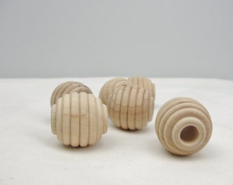 """Wooden beehive beads, 1"""" x 1"""" with a 5/16"""" hole set of 6"""