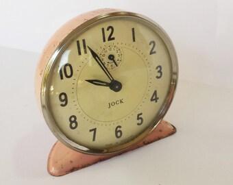 Vintage Pink Jock Alarm Clock, Pink Wind-Up Alarm Clock, Vintage Girly Clock