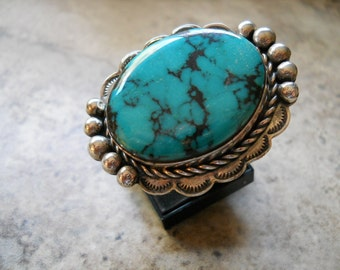 Huge Sterling Silver Turquoise Ring Size 8 1/2