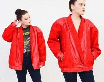 Red Leather Jacket Vintage 80s Leather Jacket - Dolman Sleeve Oversize Jacket - 1980s Suede Coat - Slouchy Moto Biker Jacket - ONE SIZE