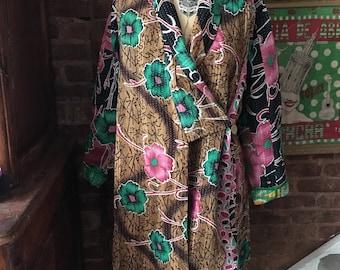 Vintage Kantha Reversible Wrap Coat size Large